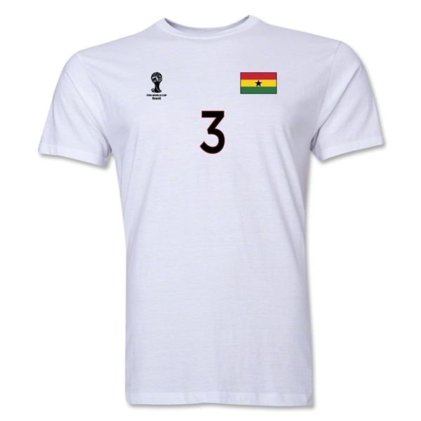 Ghana FIFA World Cup Brazil(TM) Men's Number 3 T-Shirt (White)