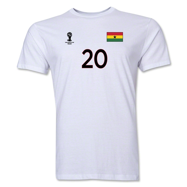 Ghana FIFA World Cup Brazil(TM) Men's Number 20 T-Shirt (White)