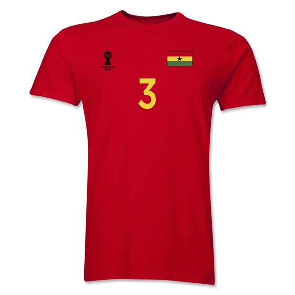 Ghana FIFA World Cup Brazil(TM) Men's Number 3 T-Shirt (Red)
