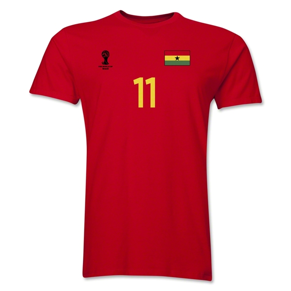 Ghana FIFA World Cup Brazil(TM) Men's Number 11 T-Shirt (Red)