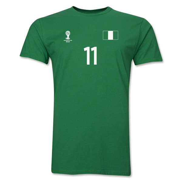Nigeria FIFA World Cup Brazil(TM) Men's Number 11 T-Shirt (Green)