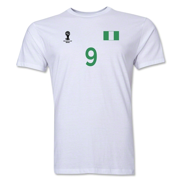 Nigeria FIFA World Cup Brazil(TM) Men's Number 9 T-Shirt (White)
