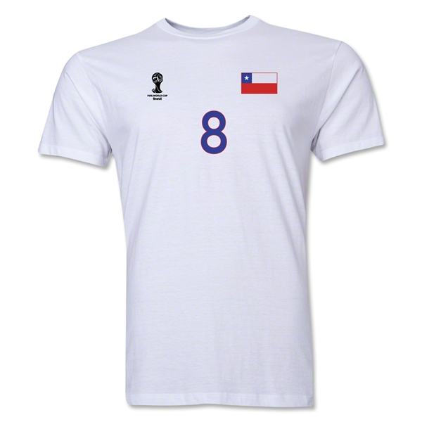 Chile FIFA World Cup Brazil(TM) Men's Number 8 T-Shirt (White)