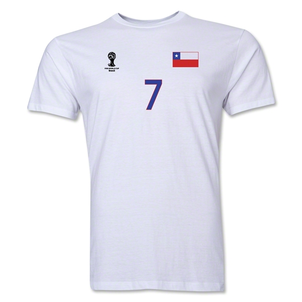 Chile FIFA World Cup Brazil(TM) Men's Number 7 T-Shirt (White)