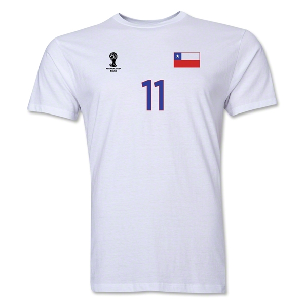 Chile FIFA World Cup Brazil(TM) Men's Number 11 T-Shirt (White)