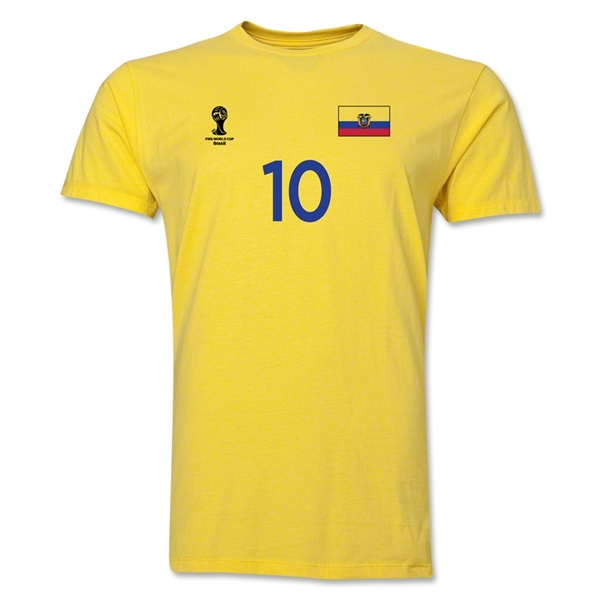 Ecuador FIFA World Cup Brazil(TM) Men's Number 10 T-Shirt (Yellow)