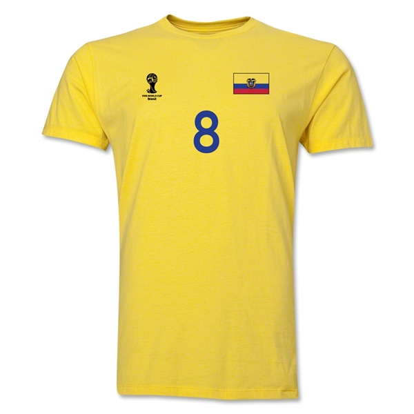 Ecuador FIFA World Cup Brazil(TM) Men's Number 8 T-Shirt (Yellow)