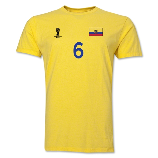 Ecuador FIFA World Cup Brazil(TM) Men's Number 6 T-Shirt (Yellow)