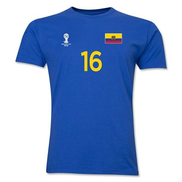 Ecuador FIFA World Cup Brazil(TM) Men's Number 16 T-Shirt (Royal)