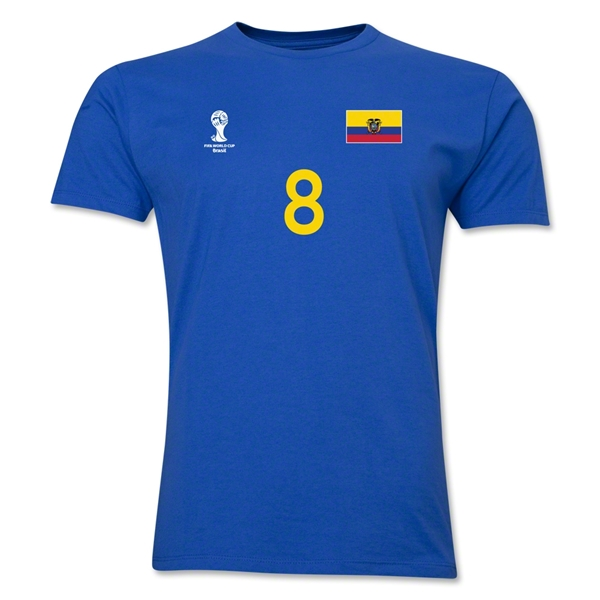 Ecuador FIFA World Cup Brazil(TM) Men's Number 8 T-Shirt (Royal)