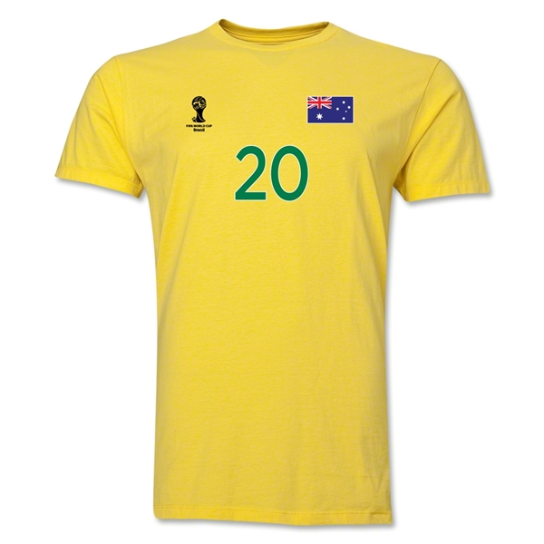 Australia FIFA World Cup Brazil(TM) Men's Number 20 T-Shirt (Yellow)