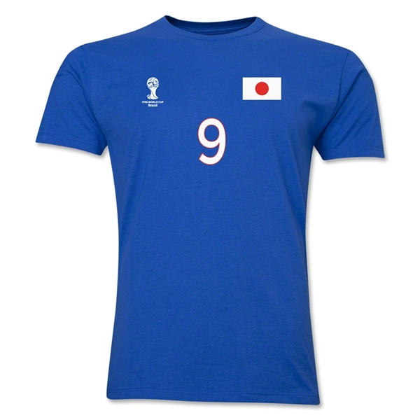 Japan FIFA World Cup Brazil(TM) Men's Number 9 T-Shirt (Royal)