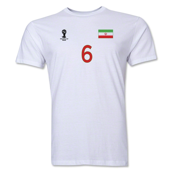 Iran FIFA World Cup Brazil(TM) Men's Number 6 T-Shirt (White)