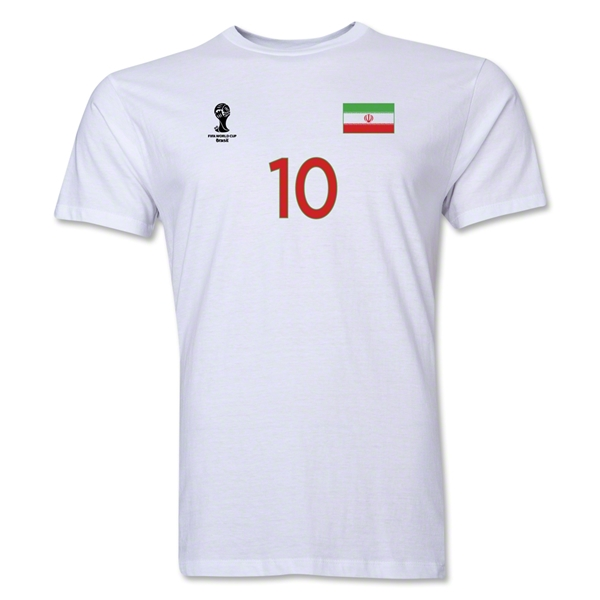 Iran FIFA World Cup Brazil(TM) Men's Number 10 T-Shirt (White)