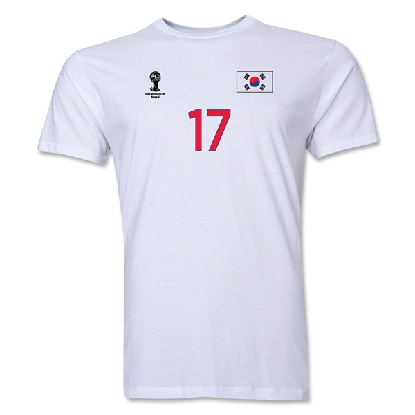 South Korea FIFA World Cup Brazil(TM) Men's Number 17 T-Shirt (White)