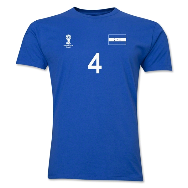 Honduras FIFA World Cup Brazil(TM) Men's Number 4 T-Shirt (Royal)