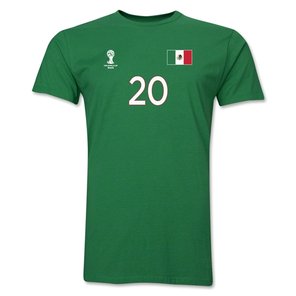 Mexico FIFA World Cup Brazil(TM) Men's Number 20 T-Shirt (Green)