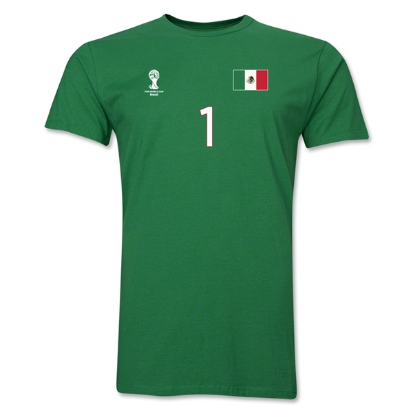 Mexico FIFA World Cup Brazil(TM) Men's Number 1 T-Shirt (Green)