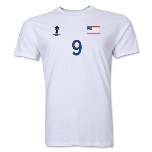 USA FIFA World Cup Brazil(TM) Men's Number 9 T-Shirt (White)