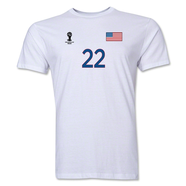 USA FIFA World Cup Brazil(TM) Men's Number 22 T-Shirt (White)