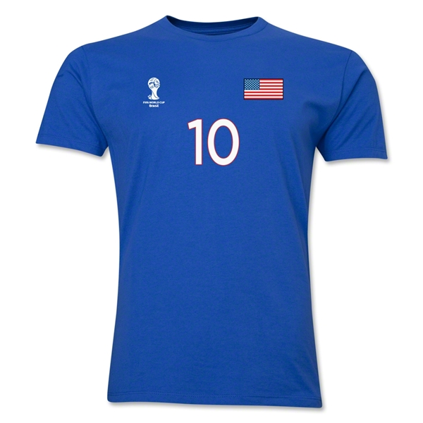 USA FIFA World Cup Brazil(TM) Men's Number 10 T-Shirt (Royal)