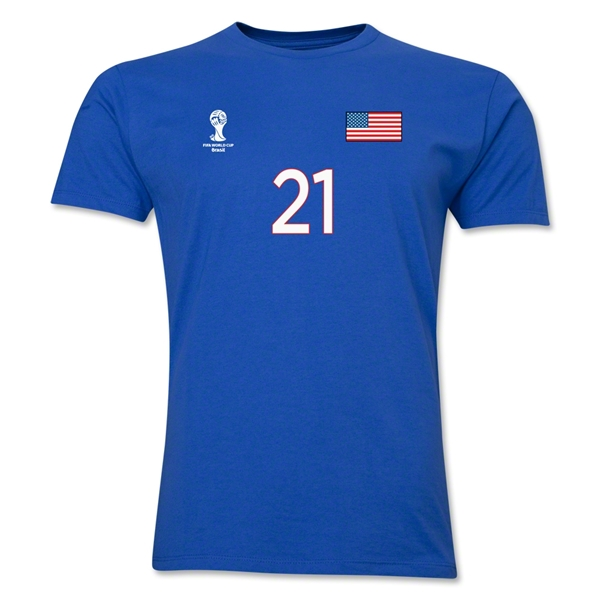 USA FIFA World Cup Brazil(TM) Men's Number 21 T-Shirt (Royal)