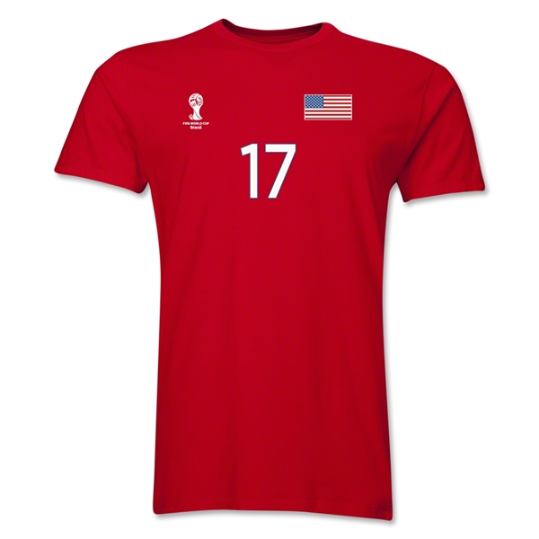 USA FIFA World Cup Brazil(TM) Men's Number 17 T-Shirt (Red)