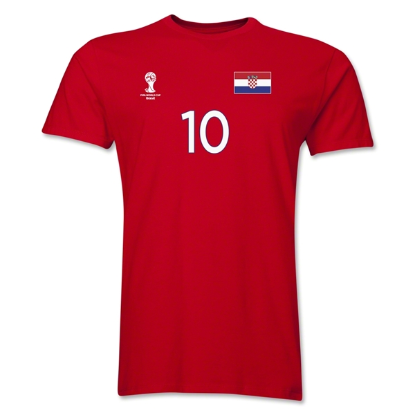 Croatia FIFA World Cup Brazil(TM) Men's Number 10 T-Shirt (Red)