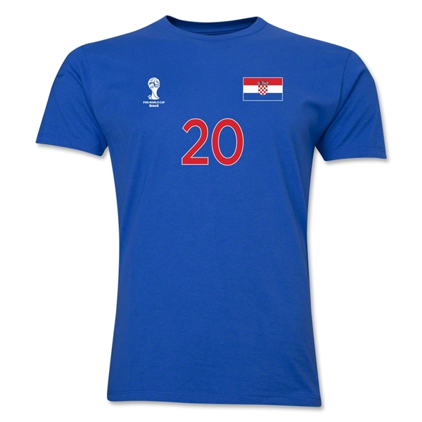 Croatia FIFA World Cup Brazil(TM) Men's Number 20 T-Shirt (Royal)