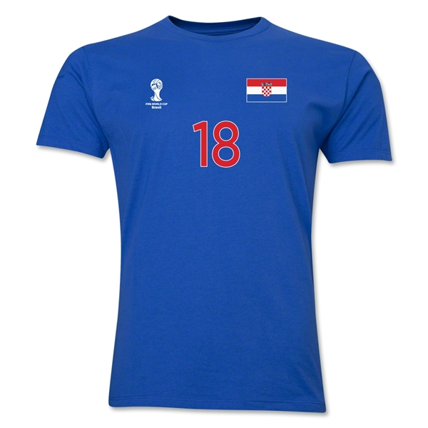 Croatia FIFA World Cup Brazil(TM) Men's Number 18 T-Shirt (Royal)