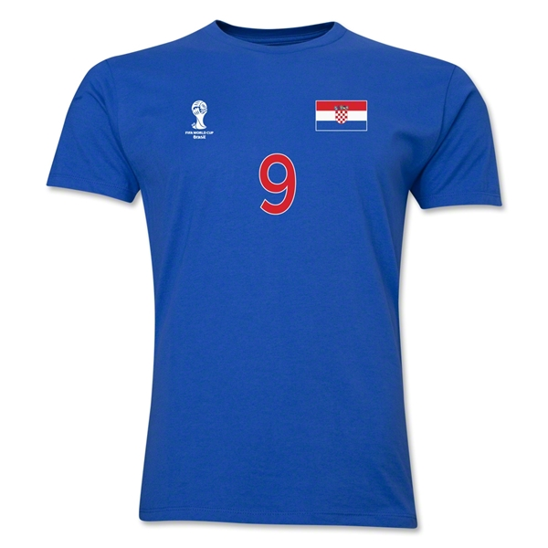 Croatia FIFA World Cup Brazil(TM) Men's Number 9 T-Shirt (Royal)