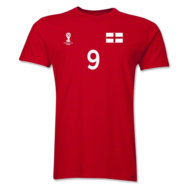 England FIFA World Cup Brazil(TM) Men's Number 9 T-Shirt (Red)