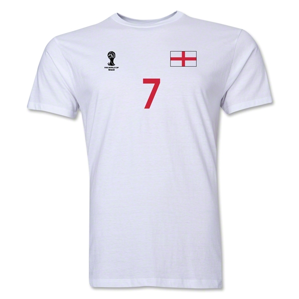 England FIFA World Cup Brazil(TM) Men's Number 7 T-Shirt (White)