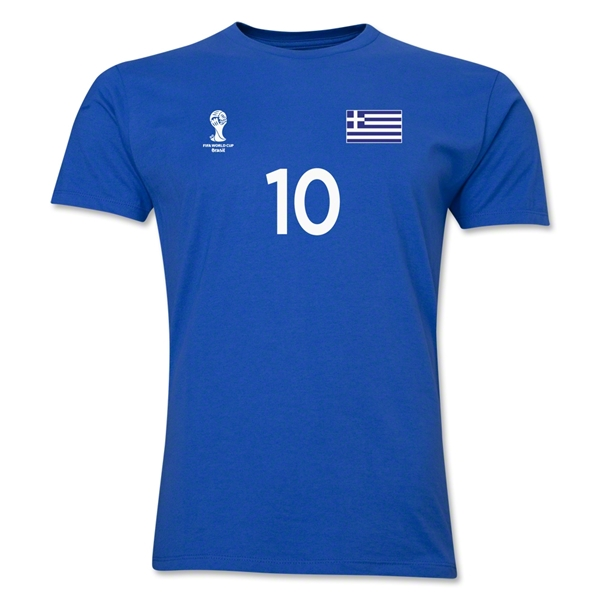 Greece FIFA World Cup Brazil(TM) Men's Number 10 T-Shirt (Royal)