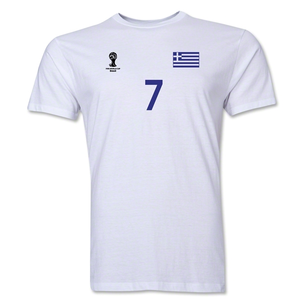 Greece FIFA World Cup Brazil(TM) Men's Number 7 T-Shirt (White)