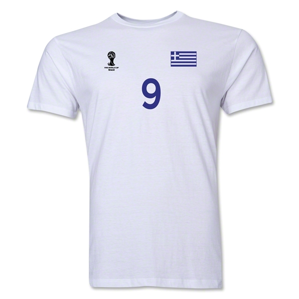 Greece FIFA World Cup Brazil(TM) Men's Number 9 T-Shirt (White)