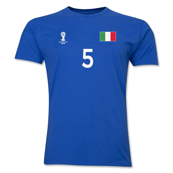 Italy FIFA World Cup Brazil(TM) Men's Number 5 T-Shirt (Royal)