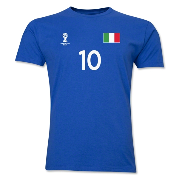 Italy FIFA World Cup Brazil(TM) Men's Number 10 T-Shirt (Royal)