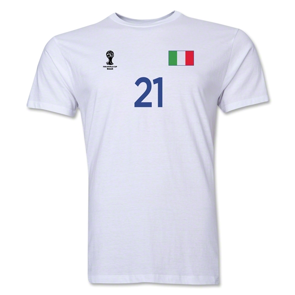 Italy FIFA World Cup Brazil(TM) Men's Number 21 Premium T-Shirt (White)