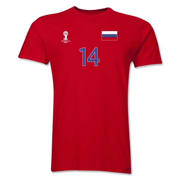 Russia FIFA World Cup Brazil(TM) Men's Number 14 Premium T-Shirt (Red)