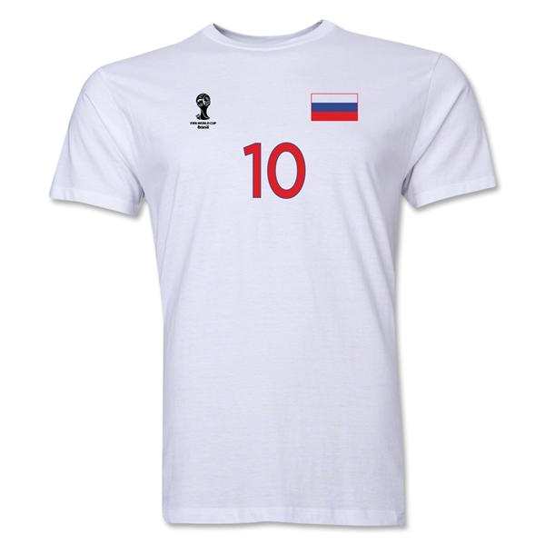 Russia FIFA World Cup Brazil(TM) Men's Number 10 Premium T-Shirt (White)