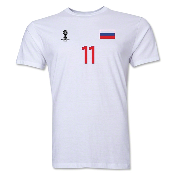 Russia FIFA World Cup Brazil(TM) Men's Number 11 Premium T-Shirt (White)