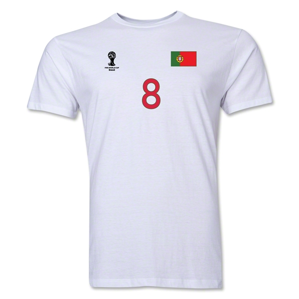 Portugal FIFA World Cup Brazil(TM) Men's Number 8 Premium T-Shirt (White)