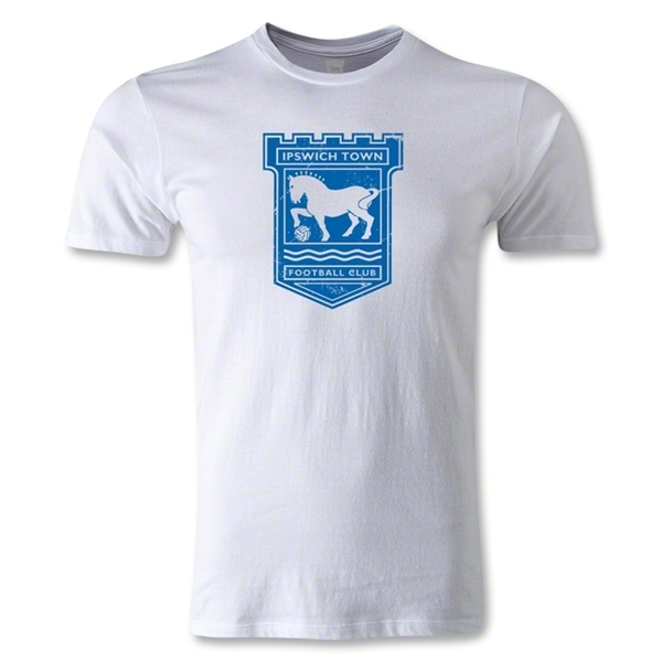 Ipswich Distressed Crest Men's Fashion T-Shirt (White)