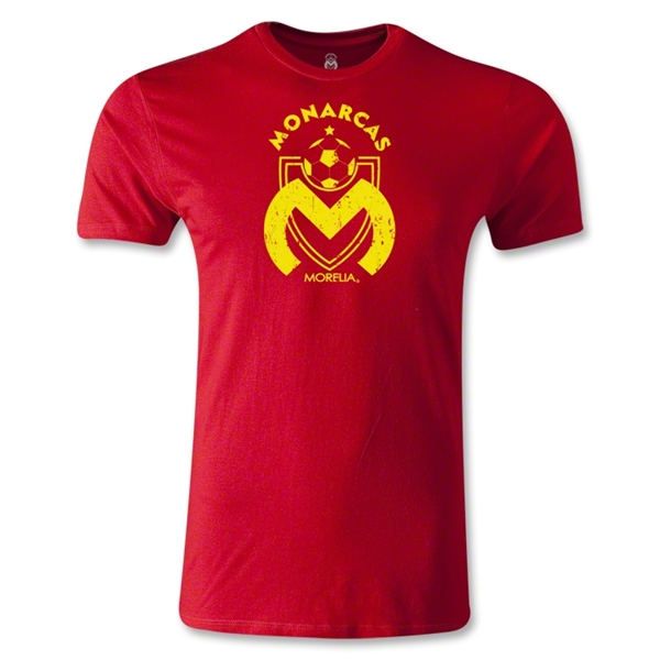 Morelia Monarcas Distressed Logo Men's Fashion T-Shirt (Red)