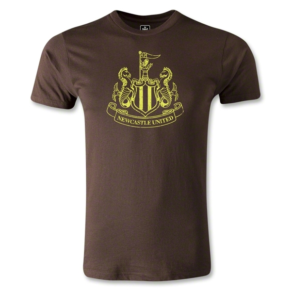 Newcastle United Distressed Crest Men's Fashion T-Shirt (Brown)