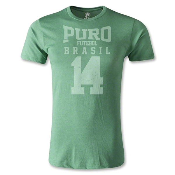 Puro Futebol Distressed Brasil 14 Men's Fashion T-Shirt (Green)