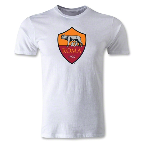 AS Roma Crest Men's Fashion T-Shirt (White)