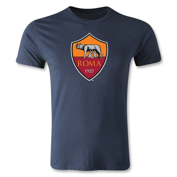 AS Roma Crest Men's Fashion T-Shirt (Navy)