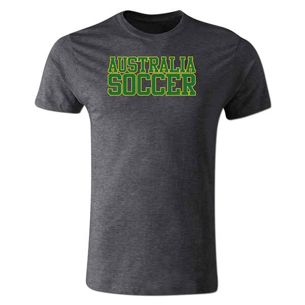 Australia Soccer Supporter Men's Fashion T-Shirt (Dark Gray)